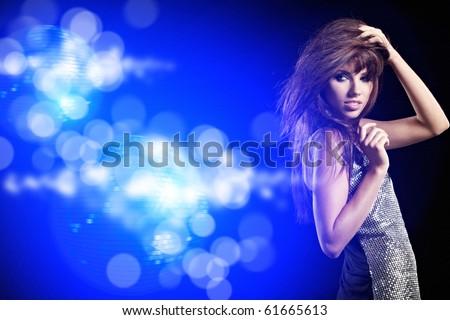 beautiful dancing girl - stock photo