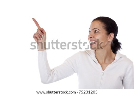 Beautiful, dark skinned woman pointing happy with finger at copyspace. Isolated on white background. - stock photo