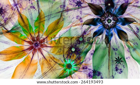Beautiful dark vivid colored modern high resolution flower background with a detailed flower pattern with plastic natural looking 3D leaves, all in high resolution and in yellow,green,blue,purple - stock photo
