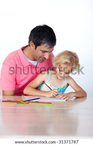 Beautiful daughter painting with her father at home - stock photo