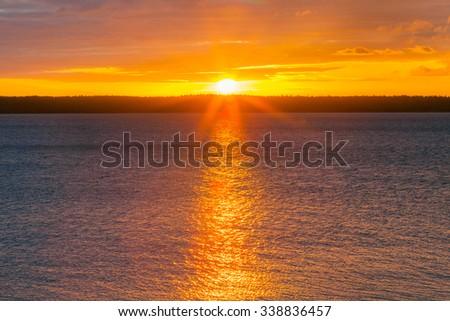 Beautiful dawn sky over Baltic sea - stock photo