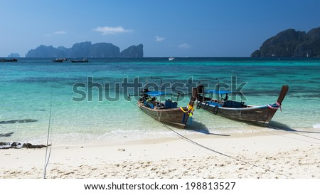Beautiful day at Long Beach. Ko Phi Phi, Krabi, Thailand - stock photo