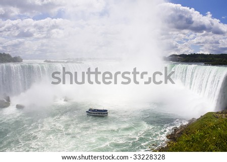 Beautiful Day at the Canadian side of Niagara Falls - stock photo