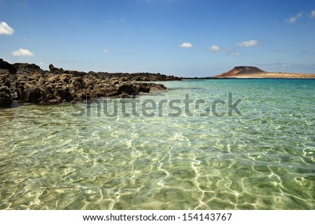 Beautiful day in Risco beach with clear water, Lanzarote - stock photo