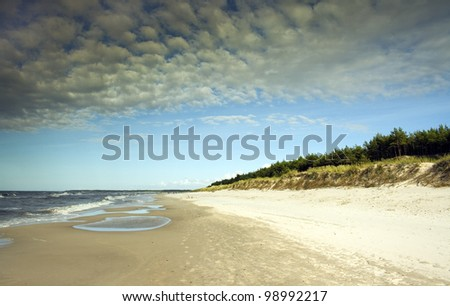 Beautiful day on a beach at baltic sea, taken in Poland - stock photo