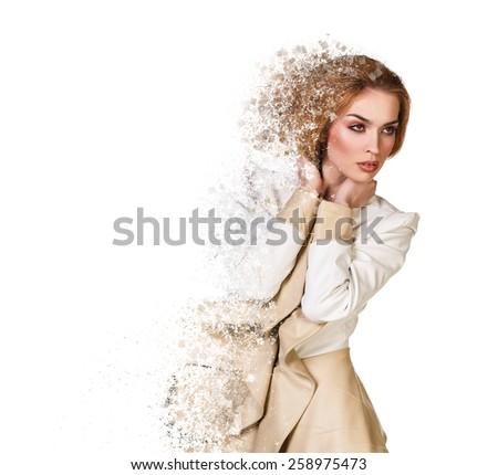 Beautiful debris woman on white - stock photo