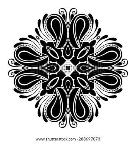 Beautiful Deco Black Square, Patterned Design Element - stock photo