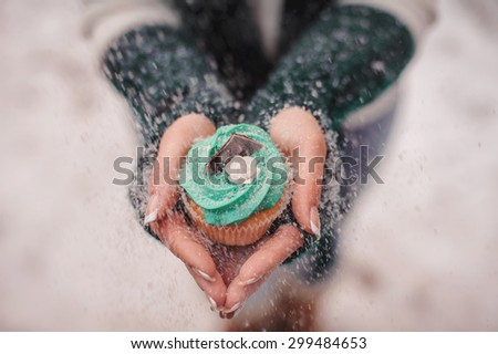 beautiful decorated cupcake in hands covered with snow - stock photo
