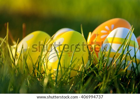 beautiful decorated easter eggs in summer day - stock photo