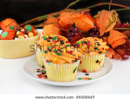Beautiful decorated fall cupcakes against a dark wooden wall and colorful autumn leaves. - stock photo