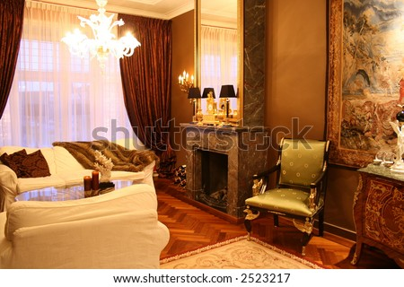 beautiful decorated living room - stock photo