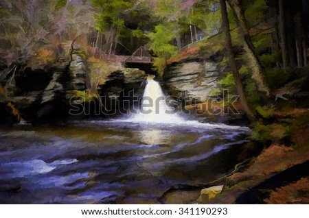 Beautiful Deer Leap Falls - turned into a colorful painting. Deer Leap Falls is located in George W Childs State Park in the Poconos area of Pennsylvania.  - stock photo
