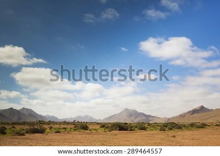 beautiful desolate mountain landscape in morocco anti-atlas - stock photo