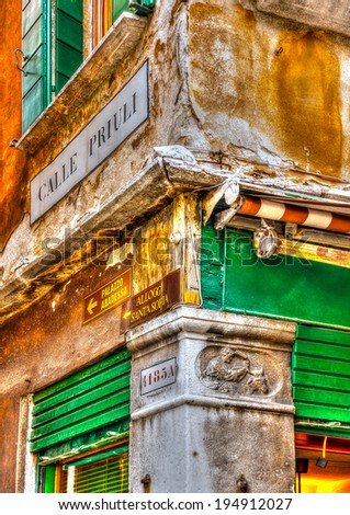 Beautiful detail of a building at Venice Italy. HDR processed - stock photo