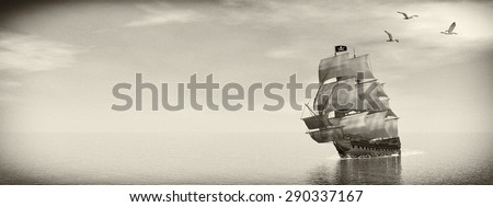 Beautiful detailed Pirate Ship, floating on the ocean surrounded with seagulls by day, vintage style image  - 3D render - stock photo