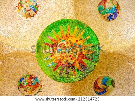 beautiful details from the roof of a building at the famous park Guell in Barcelona in Spain - stock photo