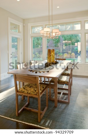 Beautiful Dining Room in New Home - stock photo