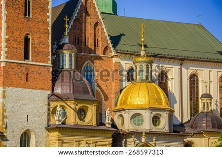 Beautiful  domes of the Wawel cathedral in Krakow, Poland - stock photo