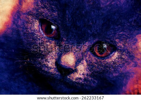 Beautiful domestic gray or blue British short hair cat with yellow or golden  eyes   or abstract draw sketch and paint artistic - stock photo