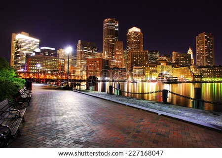Beautiful Downtown Boston at Night - stock photo