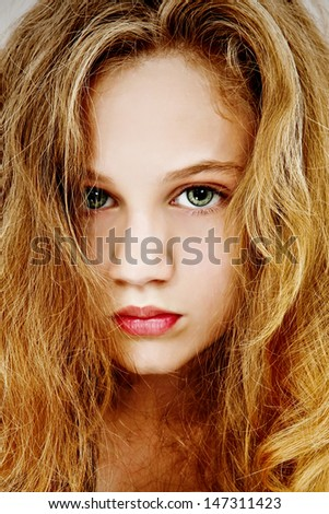 Beautiful dramatic portrait of teen girl. - stock photo