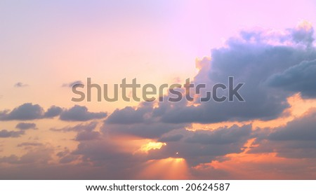 Beautiful dramatic sky with colored clouds - stock photo
