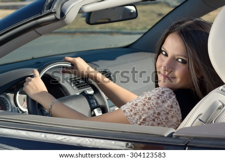 Beautiful Driver - stock photo