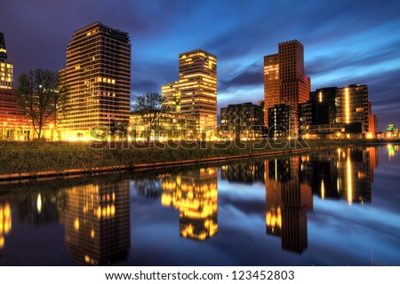 Beautiful early morning view on the office buildings in the south of Amsterdam, the Netherlands, HDR - stock photo
