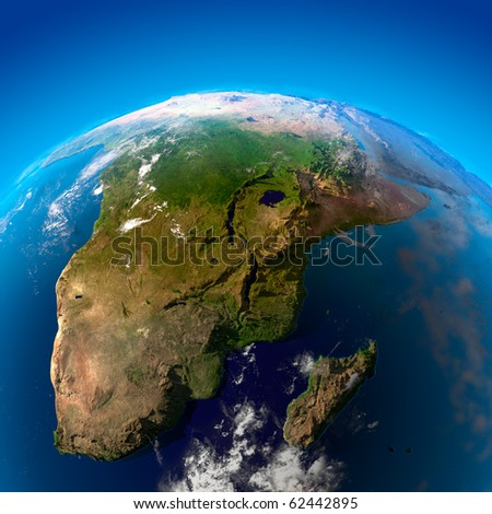 Beautiful Earth - South Africa and Madagascar from space - stock photo