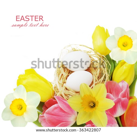 Beautiful easter eggs and tulips and narcissus flower bunch isolated on white background - stock photo