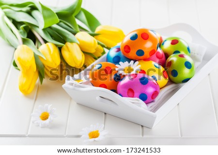 beautiful Easter still life with fresh tulips  - stock photo
