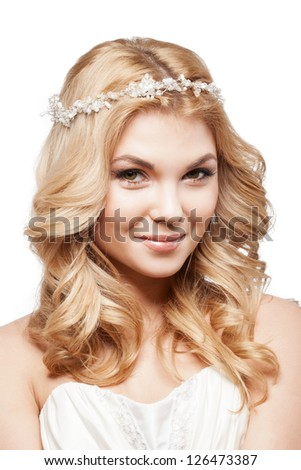 Beautiful elegance woman with beauty wedding coiffure - stock photo
