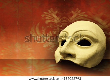 Beautiful elegant composition of one classic theater mask  - stock photo