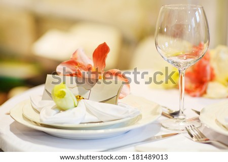 Beautiful elegant table set  for wedding or event party, indoors - stock photo