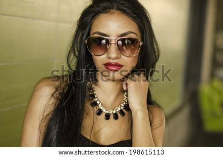Beautiful elegant young exotic woman - stock photo
