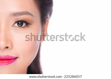 Beautiful ethnic woman. Beauty portrait of Asian female beauty model isolated on white background. Closeup of woman with long dark hair.  - stock photo