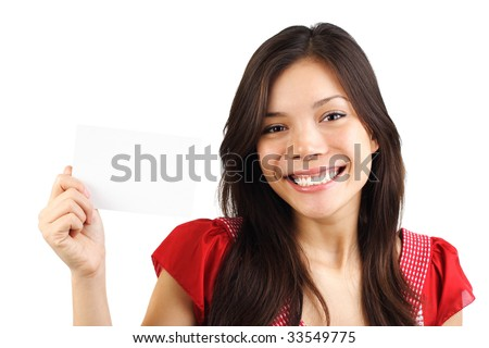 Beautiful eurasian woman holding a blank card / sign. Isolated on white background. - stock photo