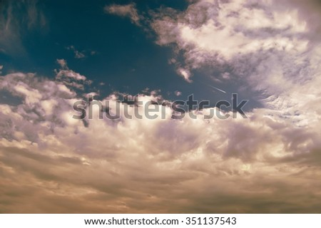 beautiful evening clouds during the sunset - stock photo