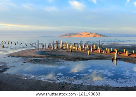 Beautiful evening light at the Great Salt Lake, Utah, USA. - stock photo