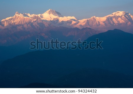 Beautiful evening view and sunset time of the Himalayan mountains when see from Sarangkot, Pokhara, Nepal - stock photo