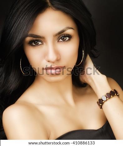 Beautiful exotic young woman - stock photo