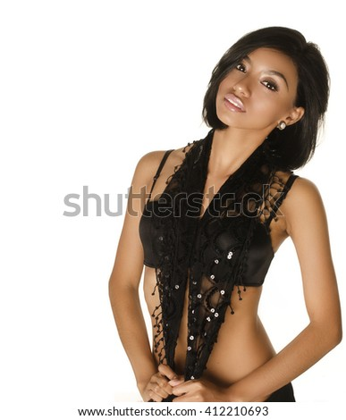 Beautiful exotic young woman isolated against white background. - stock photo