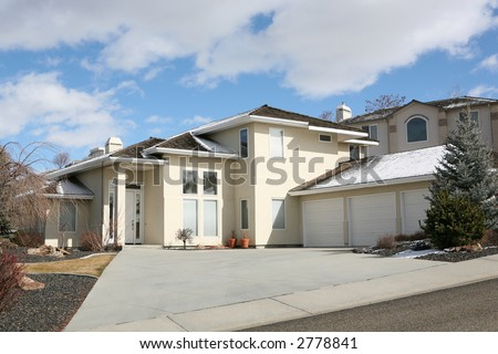 Beautiful expensive house on a hill - stock photo