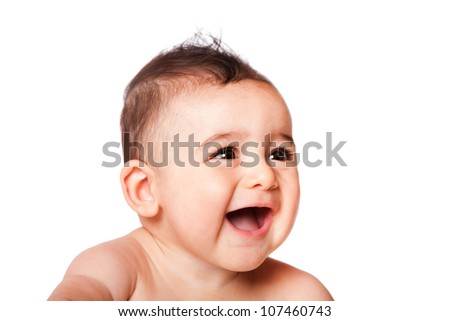 Beautiful expressive adorable happy cute laughing smiling baby infant face from side, isolated. - stock photo