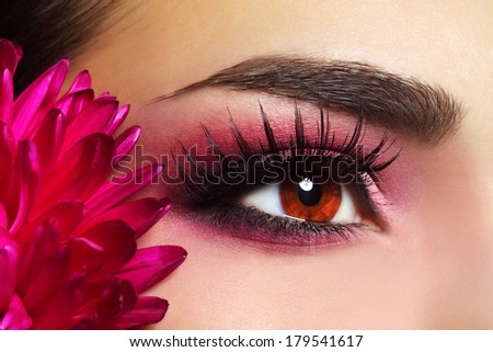 Beautiful Eye Makeup with Aster Flower - stock photo