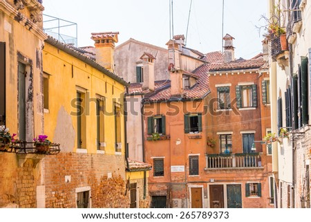 Beautiful facade and windows of typical Venetian houses, Italy - stock photo