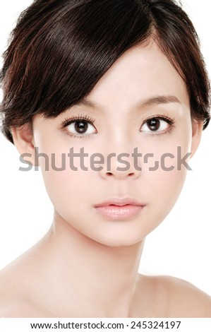 beautiful face of a young woman with perfect skin - stock photo