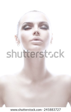 Beautiful face of adult young woman with clean fresh skin - isolated on white - stock photo