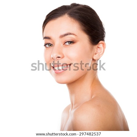 Beautiful face of smiling woman  - stock photo