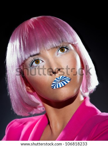 Beautiful face of the girl candy - stock photo